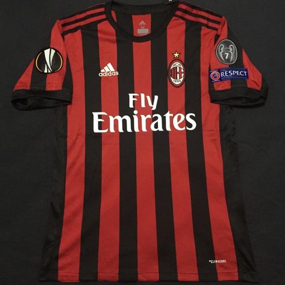 aec845d06b28 AC Milan Home Soccer Jersey 2017 18 Europa League